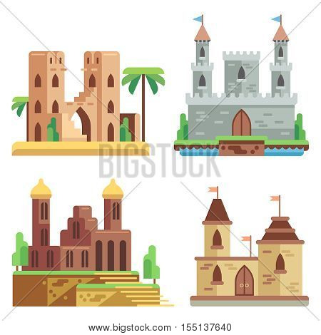 Castles and fortresses flat vector icons set. Cartoon fairy medieval castles with towers. Royal kingdom palace and stronghold illustration
