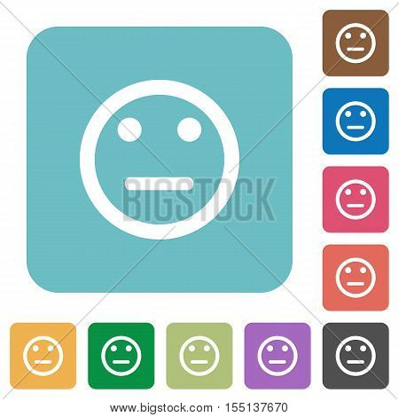 Neutral emoticon white flat icons on color rounded square backgrounds