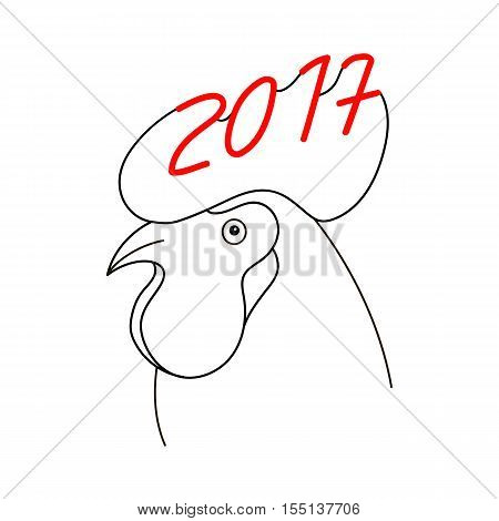 Rooster 2017 vector symbol. New Year symbol of rooster. Chinese zodiac symbol, Head with cockscomb.
