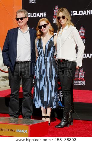 Jessica Chastain, John Madden and Kathryn Bigelow at Jessica Chastain Hand And Footprint Ceremony held at the TCL Chinese Theatre in Hollywood, USA on November 3, 2016.