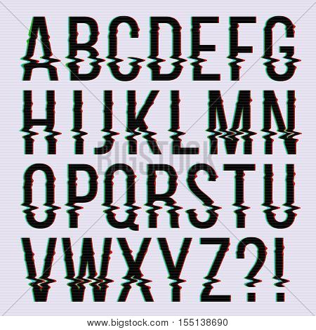 Glitch style, old television screen distortion effect english vector type, font, typeface letters. Alphabet with noise on screen illustration