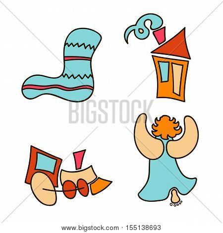 Holiday objects collection. Christmas theme with toy, train, cute angel, woolen socks, house. Set of Christmas icons. Christmas-tree decoration. Can be used as icons, wallpaper, wrapping paper, decoration.