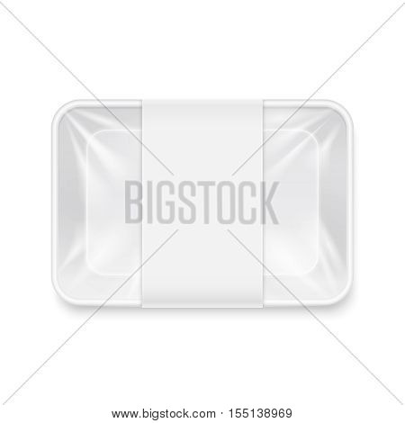 White transparent empty disposable plastic food tray container vector mockup. Protection box for supermarket illustration
