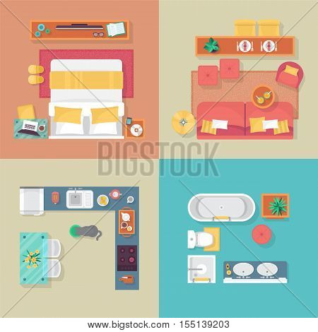 Apartment Floor Plan Top View. Furniture Set For Interior Design. Isolated Vector Illustration