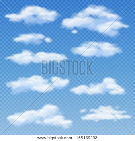 White clouds isolated on transparent blue background vector illustration. Weather with sky bright and cloudscape