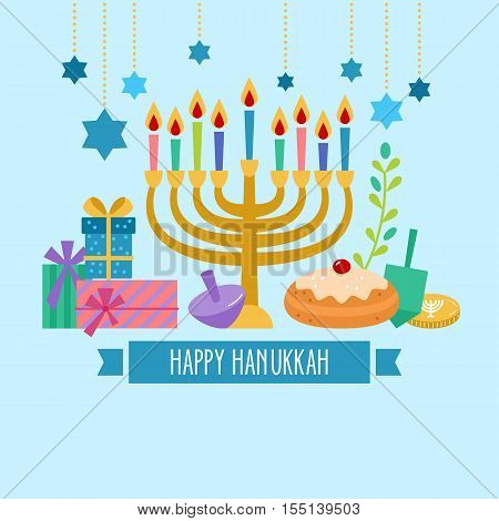 Hanukkah Jewish holiday celebration banner flat design