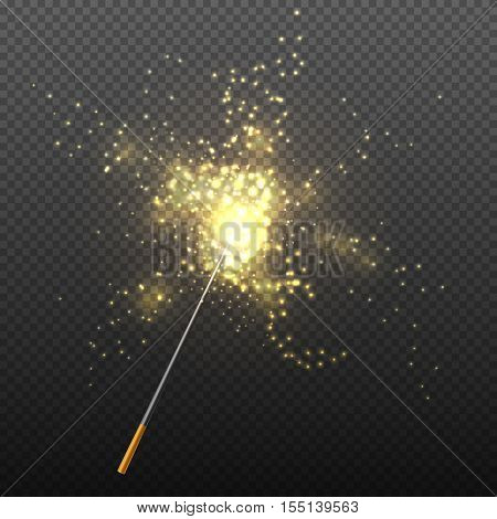 Realistic magic wand with sparkles isolated on transparent checkered background vector illustration. Miracle and wish with golden glitter