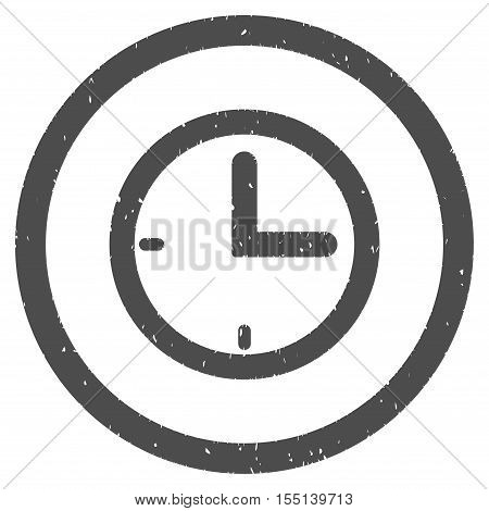 Time rubber seal stamp watermark. Icon symbol inside circle frame with grunge design and unclean texture. Scratched vector ink emblem on a white background.