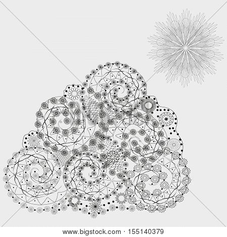 Ethnic fantasy flowers pattern Figure handmade abstract author curls a triangle point snowflake sun wave contour line of the mountain flora petal asymmetrical pattern eps10 illustration Stock vector