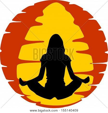 Yoga workout with the meditation posture with orange background