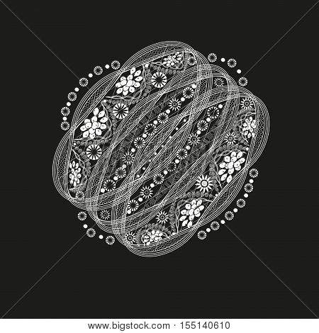 Fantasy pattern white graphics Openwork pattern handmade abstract tattoo on beautifying body painting henna decoration design flowers author line symmetrical rounded Parallel eps10 vector illustration Stock