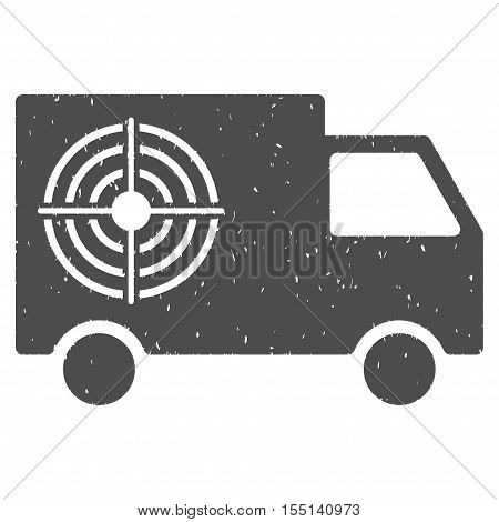 Shooting Gallery Truck rubber seal stamp watermark. Icon symbol with grunge design and corrosion texture. Scratched vector gray ink sticker on a white background.