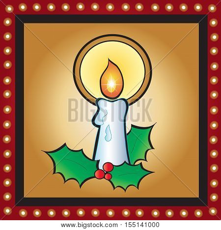 Christmas card with candle in gold background