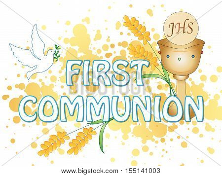 illustration for first communion with some symbol