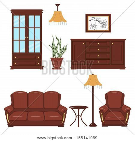 Set of Furniture. Bookcase, armchair, sofa, standard lamp, picture, coffee table, leather furniture, chest of drawers locker pendent lamp cache pot