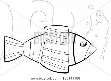 black and white sea fish suitable for coloring