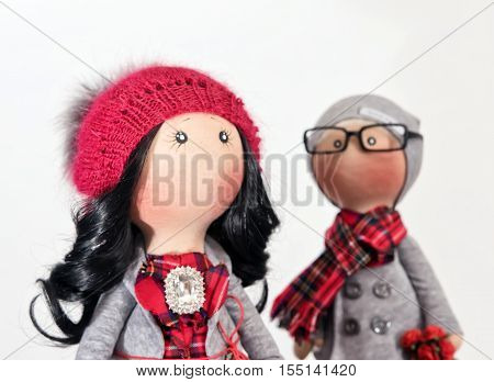 Handmade rag dolls with natural hair : a couple of hipsters in autumn clothes