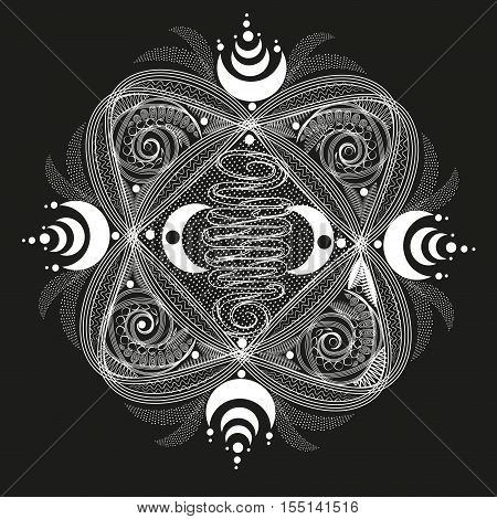White  abstract pattern symmetrical Project abstract design author handmade tattoo on the body henna month point line wave curl line openwork circle sector eps10 vector illustration Stock