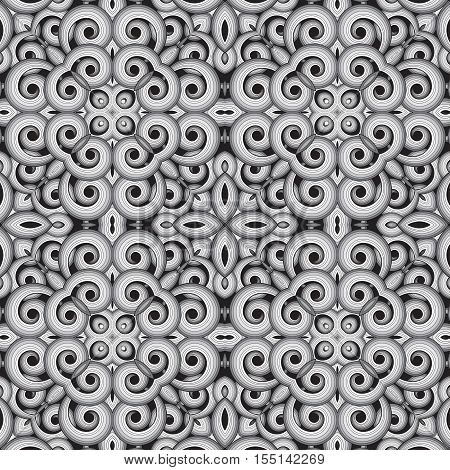 Abstract seamless vector background with swirls. Black white and gray.