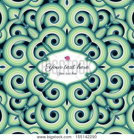 Abstract seamless vector background with swirls. Colors are easily editable. Place for your text