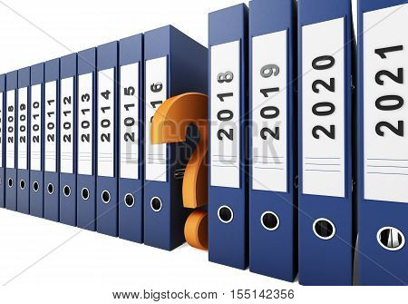 office folders question mark new year on a white background. 3d Illustrations