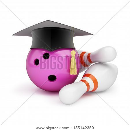 Bowling Ball with Graduation Cap 3D illustration on a white background