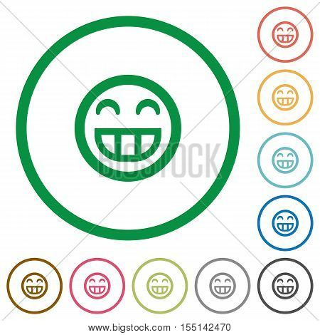 Laughing emoticon flat color icons in round outlines