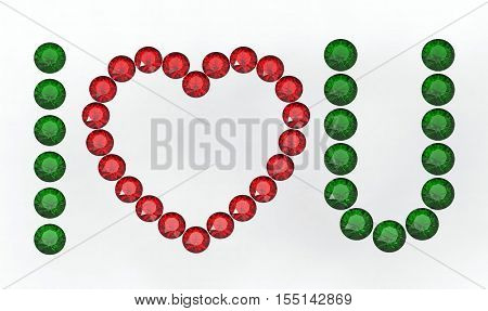 I love you message composed of diamonds 3d rendering
