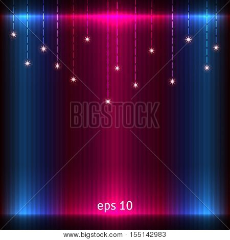 Abstract glowing background. Vector pattern decorated with stars.