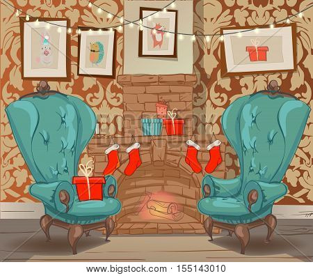 christmas vector cartoon colorful interior with fireplace