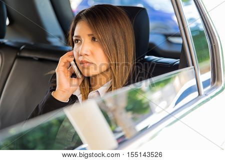 Important Businesswoman In A Car