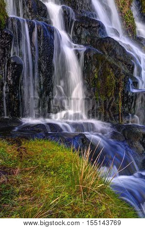 Waterfall below Old Man of Storr near Portree Isle of Skye Highland Scotland United Kingdom Europe