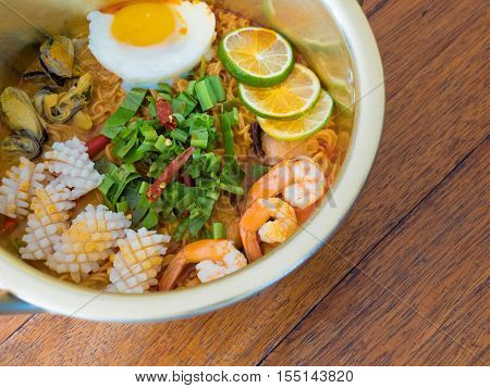 thai food Tom Yam Kung with instant noodles
