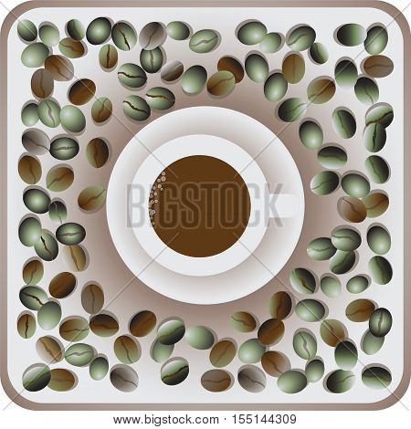 A Cup of coffee and the green coffee bean. Composition for the decoration of banners, posters, wrapping paper, textiles, tapestries.