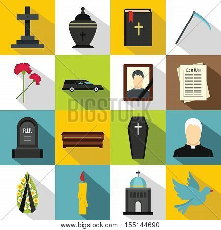 Funeral icons set. Flat illustration of 16 funeral vector icons for web
