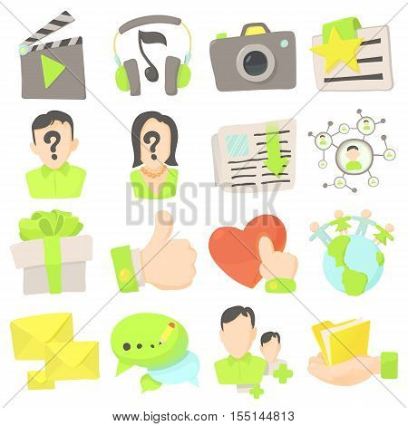Advertisement icons set. Cartoon illustration of 16 advertisement vector icons for web