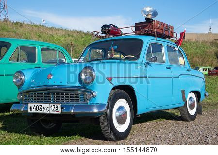 KRONSTADT, RUSSIA - SEPTEMBER 04, 2016: Blue Moskvich-403 on the exhibition of vintage cars in Kronstadt