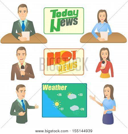 News presenter concept set. Cartoon illustration of 6 news presenter vector concepts for web