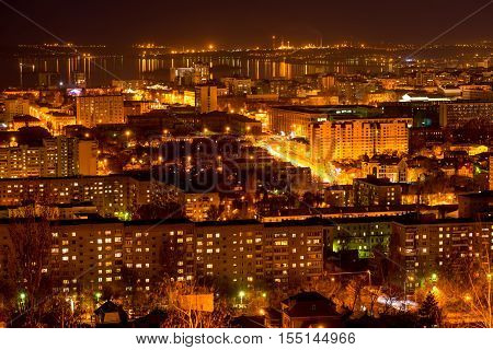 nightlife Russia the evening city of Saratov with Volga River