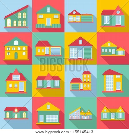 Houses icons set. Flat illustration of 16 houses vector icons for web
