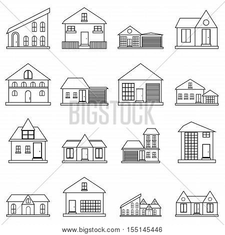 Houses icons set. Outline illustration of 16 houses vector icons for web