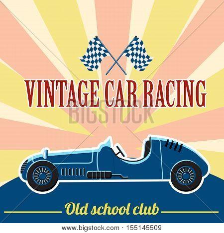 Racing retro car concept. Flat illustration of Racing retro car vector concept for web