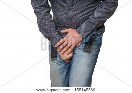 Man With Hands Holding His Crotch, He Wants To Pee, Incontinence
