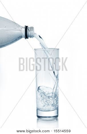 mineral water in glass isolated on a white