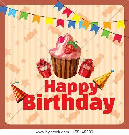 Happy birthday composition concept. Cartoon illustration of Happy Birthday composition vector concept for web