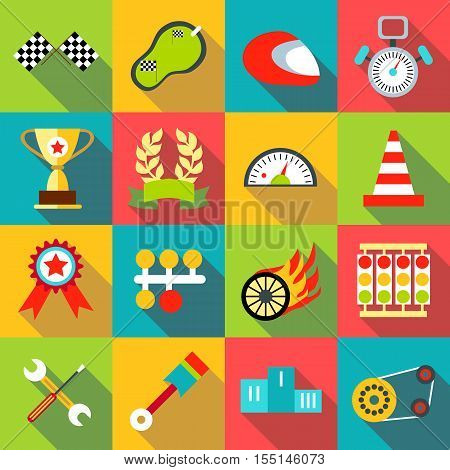 Racing icons set. Flat illustration of 16 racing vector icons for web
