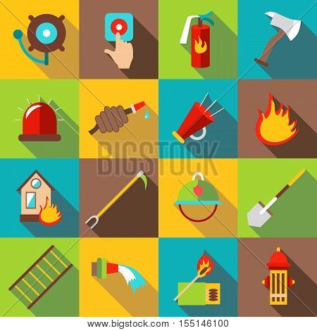 Fire fighting icons set. Flat illustration of 16 fire fighting vector icons for web