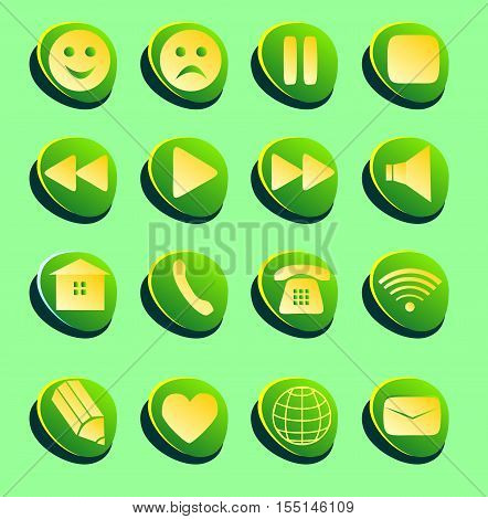 Signs connection e-mail play pause phone communication set. Simple Internet button beauty shape on green background. Vector illustration for web design. A set of white green and yellow