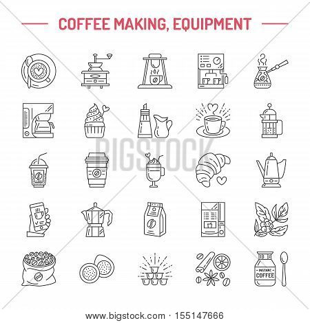 Vector line icons of coffee making equipment. Elements - moka pot french press coffee grinder espresso vending coffee plant. Linear restaurant shop pictogram with editable stroke for coffee menu