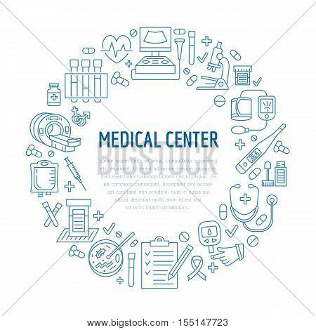 Medical poster template. Vector line icon illustration of medical center health check up. Medical equipment - mri cardiogram glucometer doctor ultrasound blood test. Healthcare banner design